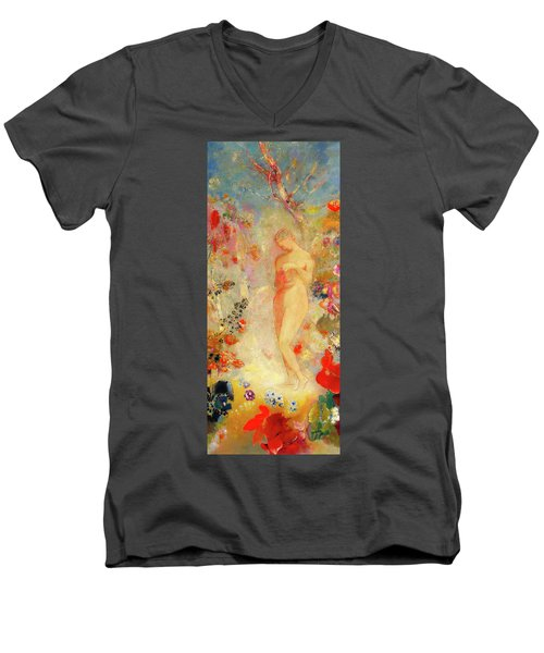 Men's V-Neck T-Shirt featuring the painting Pandora by Odilon Redon