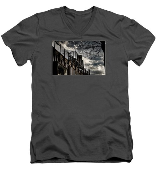 Men's V-Neck T-Shirt featuring the photograph Pop Brixton - Spiral Staircase - Industrial Style by Lenny Carter