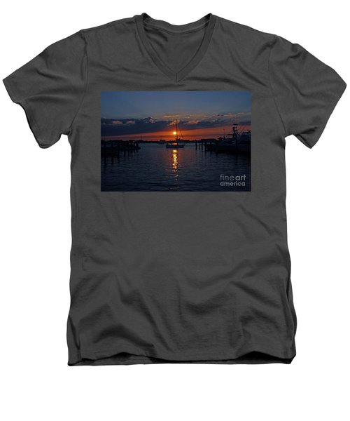 Men's V-Neck T-Shirt featuring the photograph 5- Sailfish Marina Sunset In Paradise by Joseph Keane