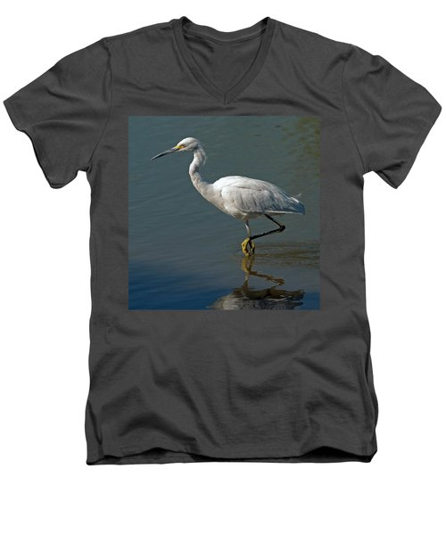 Snowy Egret Men's V-Neck T-Shirt by Tam Ryan