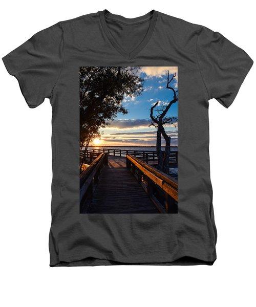 Sunset On The Cape Fear River Men's V-Neck T-Shirt