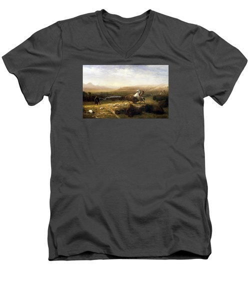 The Last Of The Buffalo  Men's V-Neck T-Shirt by MotionAge Designs