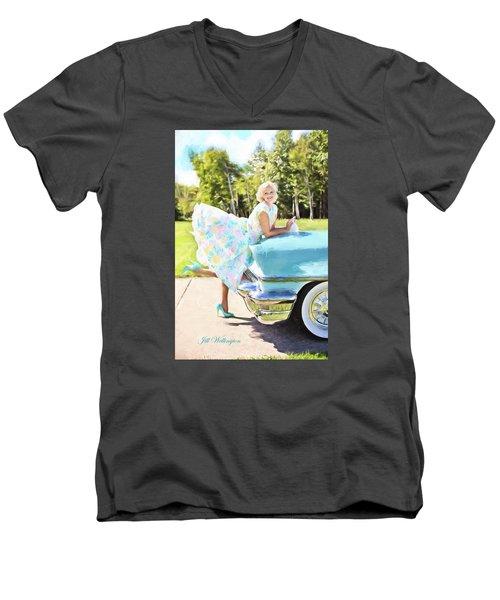Vintage Val In The Turquoise Vintage Car Men's V-Neck T-Shirt by Jill Wellington