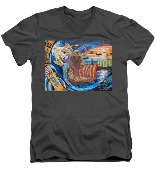 Men's V-Neck T-Shirt featuring the painting 500 Empires Never Die - Odin by Sigrid Tune