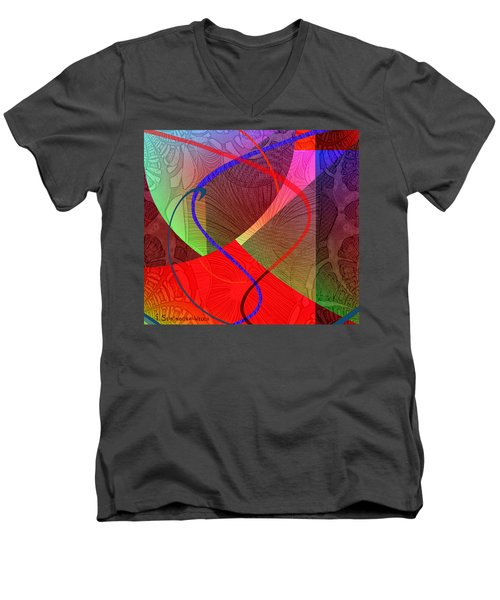 504 - Patterns  2017 Men's V-Neck T-Shirt by Irmgard Schoendorf Welch