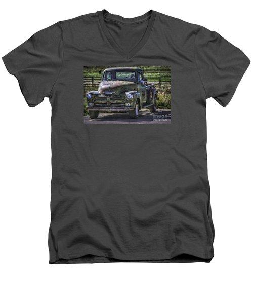 54 Chevy 3600 Stepside Men's V-Neck T-Shirt