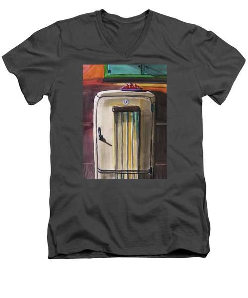 Men's V-Neck T-Shirt featuring the painting 50's Update by John Williams