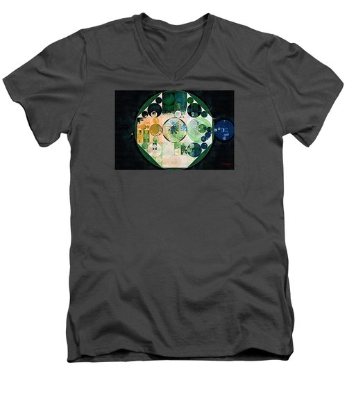 Men's V-Neck T-Shirt featuring the digital art Abstract Painting - Onyx by Vitaliy Gladkiy
