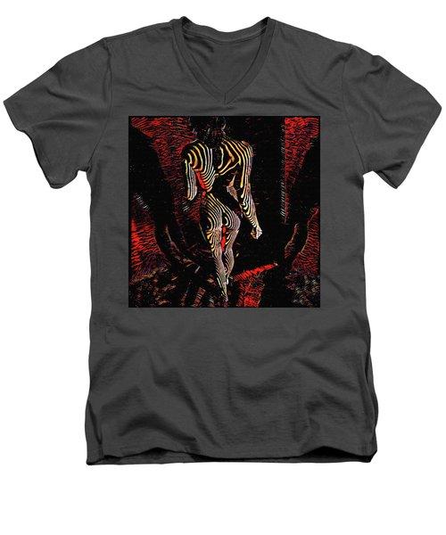 5360s-mak Abstract Zebra Striped Woman Strong Shoulders Men's V-Neck T-Shirt