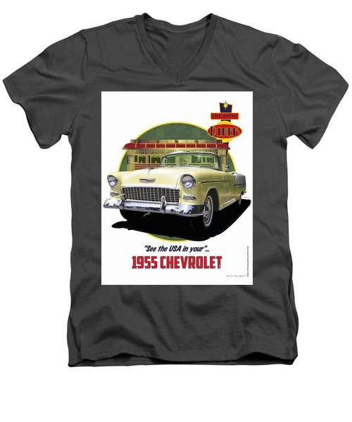 Men's V-Neck T-Shirt featuring the drawing 55 Chevy by Kenneth De Tore