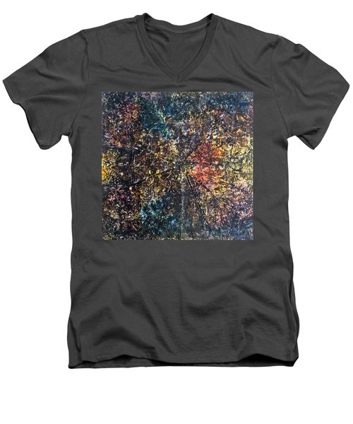 Men's V-Neck T-Shirt featuring the painting 55-offspring While I Was On The Path To Perfection 55 by Parijoy Swami Tapasyananda