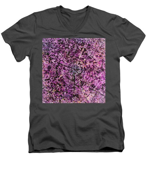 Men's V-Neck T-Shirt featuring the painting 56-offspring While I Was On The Path To Perfection 56 by Parijoy Swami Tapasyananda