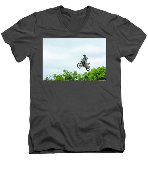 Men's V-Neck T-Shirt featuring the photograph 573 Flying High At White Knuckle Ranch by David Morefield