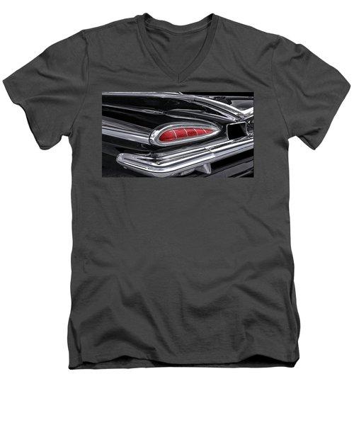 59 Chevy Tail Light Detail Men's V-Neck T-Shirt by Gary Warnimont