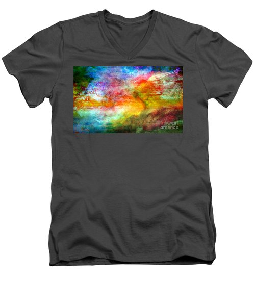 Men's V-Neck T-Shirt featuring the painting 5a Abstract Expressionism Digital Painting by Ricardos Creations