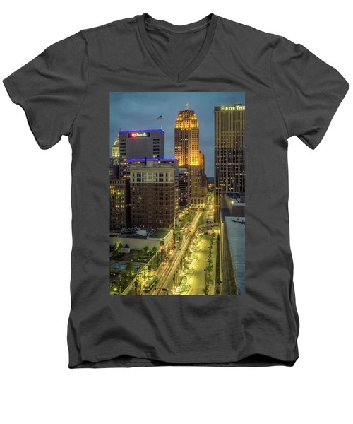 5th Street Cincinnati Men's V-Neck T-Shirt by Scott Meyer