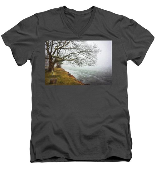 Green Pond New Jersey Winter C409 Men's V-Neck T-Shirt