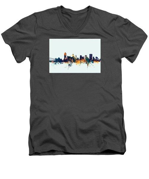Memphis Tennessee Skyline Men's V-Neck T-Shirt by Michael Tompsett