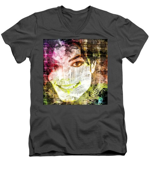 Men's V-Neck T-Shirt featuring the mixed media Michael Jackson by Svelby Art