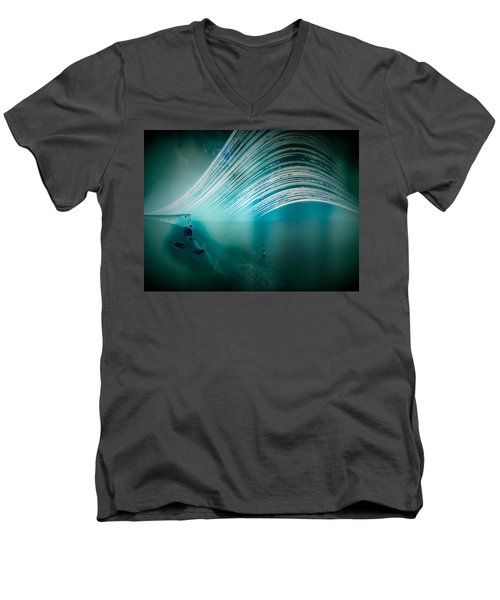6 Month Exposure Overlooking The Beachy Head Lighthouse Men's V-Neck T-Shirt