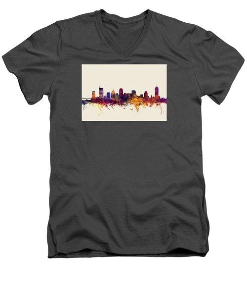Nashville Tennessee Skyline Men's V-Neck T-Shirt by Michael Tompsett