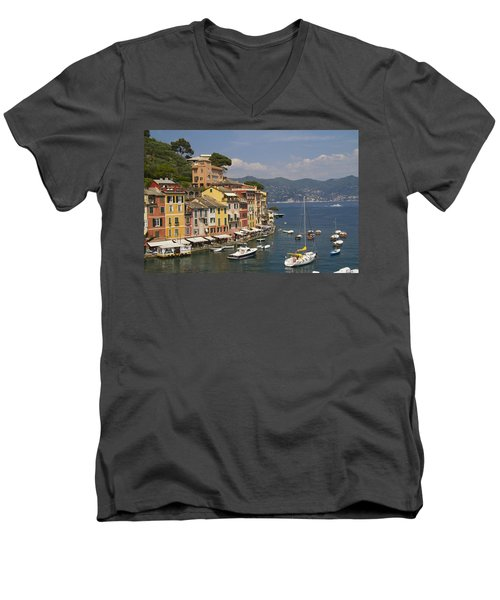 Portofino In The Italian Riviera In Liguria Italy Men's V-Neck T-Shirt by David Smith