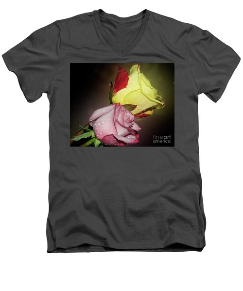 Men's V-Neck T-Shirt featuring the photograph Roses by Elvira Ladocki
