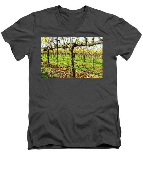 Rows Of Grapevines In Napa Valley California Men's V-Neck T-Shirt
