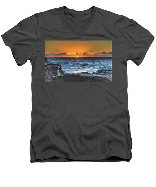 Sunrise Seascape With Sun Men's V-Neck T-Shirt
