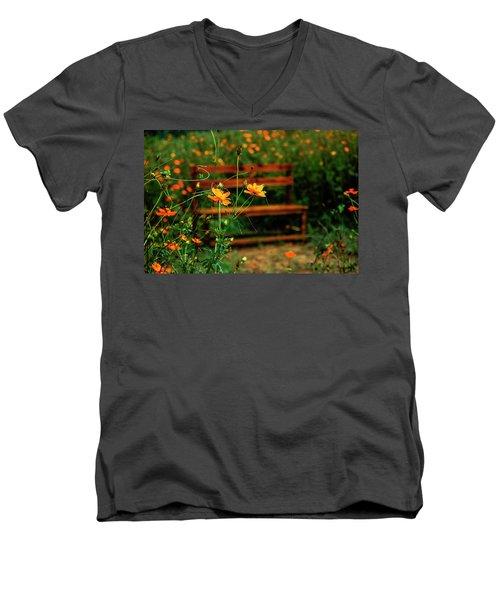 Galsang Flowers In Garden Men's V-Neck T-Shirt