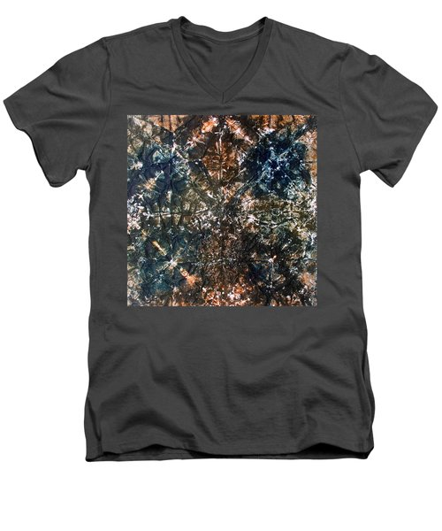 Men's V-Neck T-Shirt featuring the painting 62-offspring While I Was On The Path To Perfection 62 by Parijoy Swami Tapasyananda