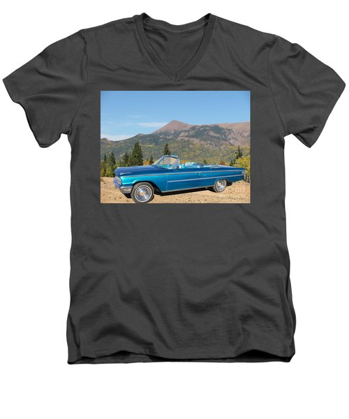 63 Ford Convertible Men's V-Neck T-Shirt by Steven Parker