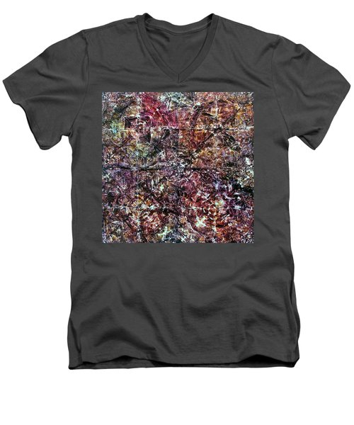 Men's V-Neck T-Shirt featuring the painting 64-offspring While I Was On The Path To Perfection 64 by Parijoy Swami Tapasyananda