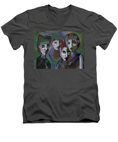 Men's V-Neck T-Shirt featuring the digital art 649 - Gauntly Ladies by Irmgard Schoendorf Welch
