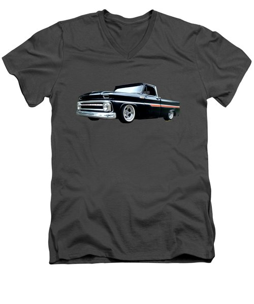 65 Chevy C-10 Stopping At Roy's On Route 66 Men's V-Neck T-Shirt
