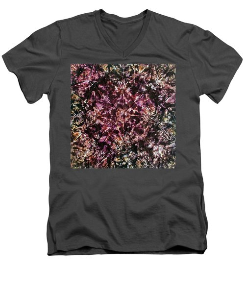 Men's V-Neck T-Shirt featuring the painting 66-offspring While I Was On The Path To Perfection 66 by Parijoy Swami Tapasyananda
