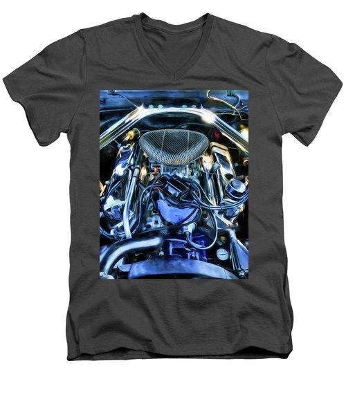 Men's V-Neck T-Shirt featuring the photograph 67 Mustang Horsepower by Trey Foerster