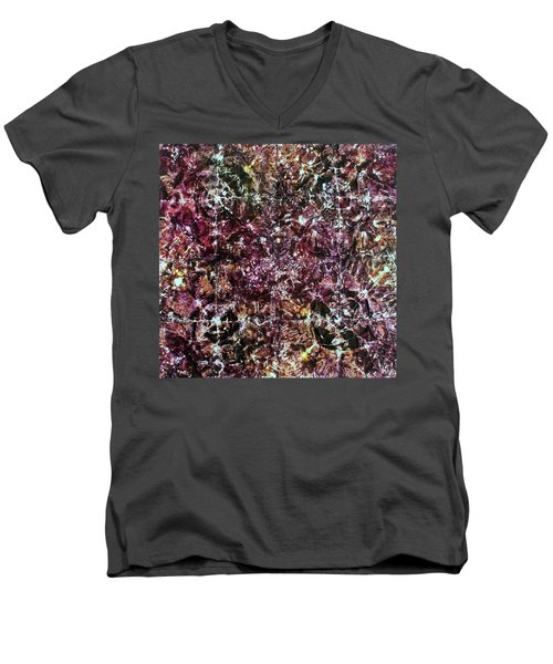 Men's V-Neck T-Shirt featuring the painting 67-offspring While I Was On The Path To Perfection 67 by Parijoy Swami Tapasyananda