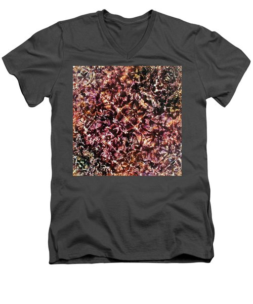 Men's V-Neck T-Shirt featuring the painting 68-offspring While I Was On The Path To Perfection 68 by Parijoy Swami Tapasyananda
