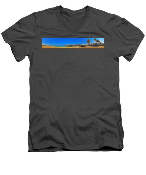 6x1 Venice Florida Beach Pier Men's V-Neck T-Shirt