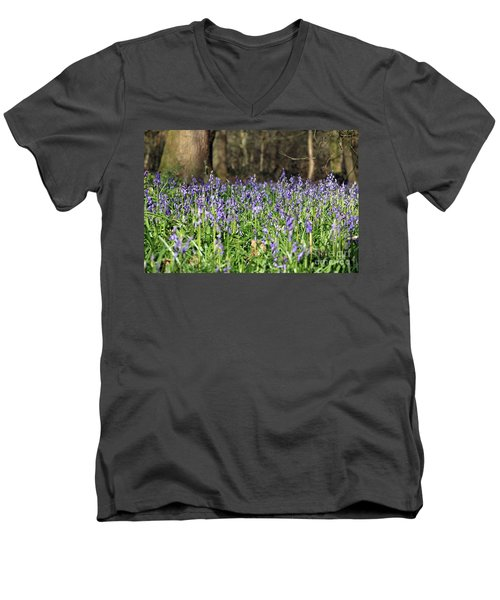 Bluebells At Banstead Wood Surrey Uk Men's V-Neck T-Shirt