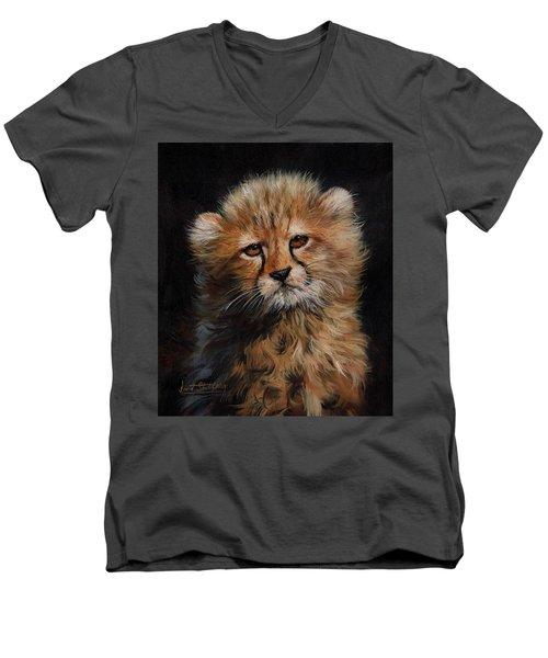Cheetah Cub Men's V-Neck T-Shirt by David Stribbling