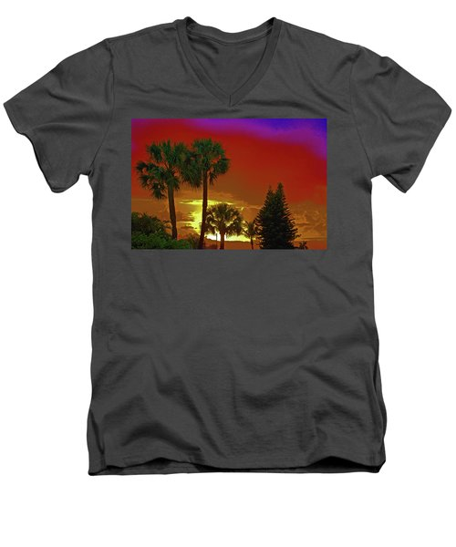 Men's V-Neck T-Shirt featuring the digital art 7- Holiday by Joseph Keane