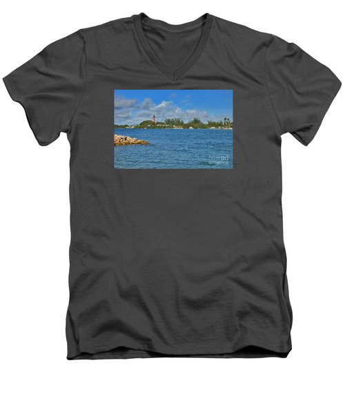 7- Jupiter Lighthouse Men's V-Neck T-Shirt