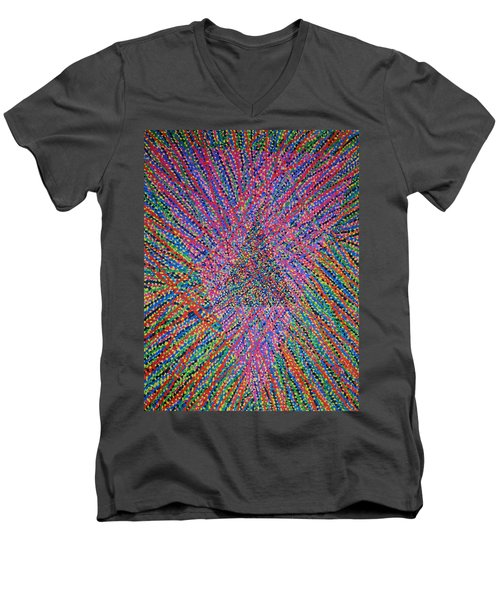 Men's V-Neck T-Shirt featuring the painting Mobius Band by Kyung Hee Hogg
