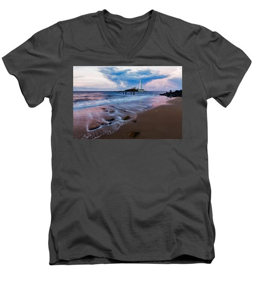 Saint Mary's Lighthouse At Whitley Bay Men's V-Neck T-Shirt