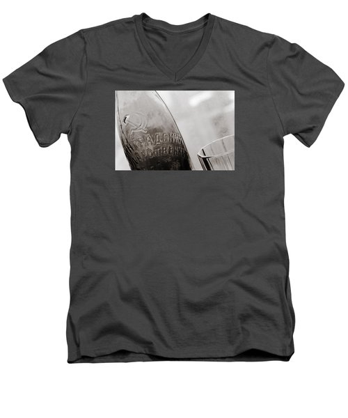 Men's V-Neck T-Shirt featuring the photograph Vintage Beer Bottle Ussr by Andrey  Godyaykin