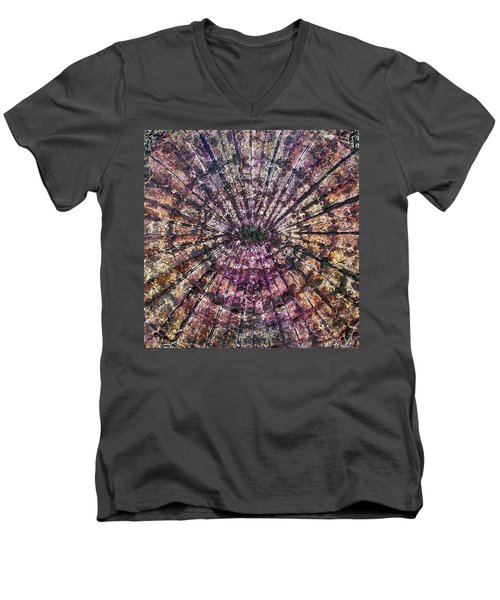 Men's V-Neck T-Shirt featuring the painting 71-offspring While I Was On The Path To Perfection 71 by Parijoy Swami Tapasyananda