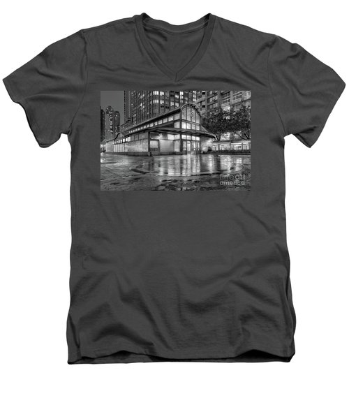 72nd Street Subway Station Bw Men's V-Neck T-Shirt by Jerry Fornarotto