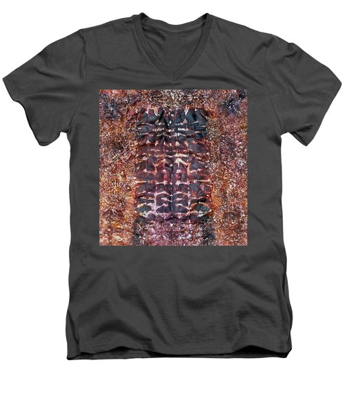 Men's V-Neck T-Shirt featuring the painting 73-offspring While I Was On The Path To Perfection 73 by Parijoy Swami Tapasyananda
